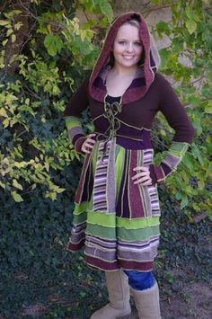 Elf Coat  Midlength  Recycled Sweater Coat  Green and by tantor, $200.00