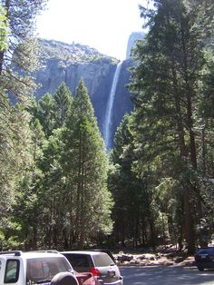 Bridal Veil Falls in Yosemite Valley.  2012.  Carol, Robb & Suri were to meet me in this parking lot.  i was taking photos before they arrived.  soon after i was taking these photos, they came.    CA