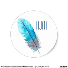 Watercolor Turquoise Feather Summer Boho Classic Round Sticker @zazzle #junkydotcom Sept 2016