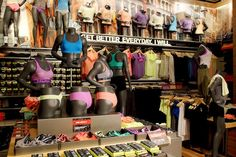 """1. The most workout underwear we've ever seen  Sports bras, bra fittings, and a wall of thongs and briefs—who would've guessed how sexy (and colorful) you could look underneath your sweaty outfit? The stretchy and seamless undies come in everything from neon stripes to pink snake-print, plus, they're not hiding in bins, so you can easily find what you need. The bras are arranged by low, mid, and high-impact. We're calling Under Armour """"the Victoria's Secret of workout underwear"""""""