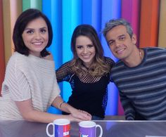 Sandy participa do Vídeo Show ao lado de Monica Iozzi e Otaviano Costa (Foto: Talita Mendes / Gshow)