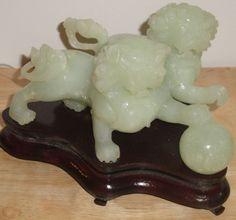 "Feng Shui Jade Foo Dogs Fu Dogs 3""H 632 g."