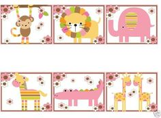 Jungle Animals Wallpaper Border wall art decals for baby girl nursery or kids room decor. Zoo and safari animals themes. Includes a monkey, lion, elephant, zebra, alligator, and giraffe #decampstudios