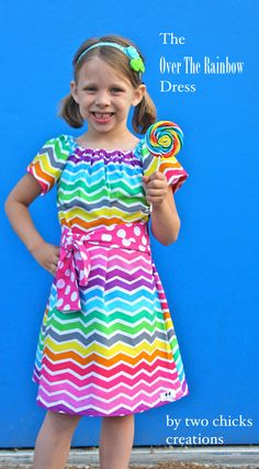 Children's Clothing- Two Chicks Creations Over The Rainbow Dress Rainbow Chevron Girl's All Sizes 12 months- Girl's 12 on Etsy, $32.00