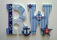 Nautical theme personalized name custom letters for nursery, boy's or teen's room