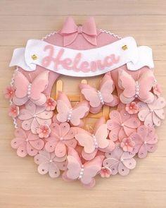 Baby Crafts, Felt Crafts, Diy And Crafts, Handmade Crafts, Felt Wreath, Felt Garland, Burlap Wreath, Cute Baby Wallpaper, Diy Cushion