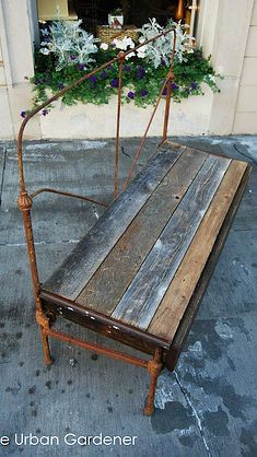 Farmy bench from upcycled headboard and salvage barn wood.