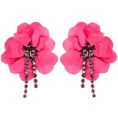 Lanvin Earrings ($520) ❤ liked on Polyvore featuring jewelry, earrings, fuchsia, swarovski crystal earrings, logo earrings, lanvin, clip earrings and fuschia earrings