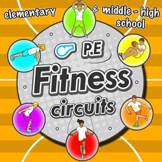 Fitness Circuit Station cards - 36 PE activities for elementary & middle school Elementary Physical Education, Physical Education Activities, Elementary Pe, Pe Activities, Health And Physical Education, Health Class, Fitness Activities, Gym Games For Kids, Exercise For Kids