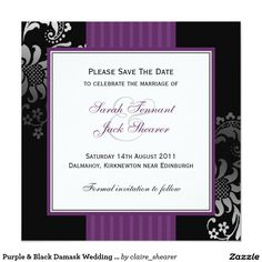 Purple & Black Damask Wedding Save the Date 5.25x5.25 Square Paper Invitation Card