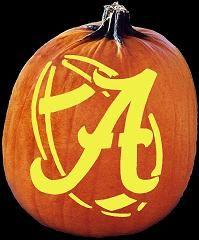 Alabama Jack-o-lanern:) I love the football background