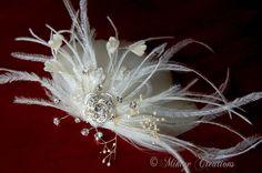 Wedding Feather Fascinator, Wedding Hair Piece,  Vintage Inspired Bridal Headpiece, Wedding Accessory  - Gwyneth via Etsy.