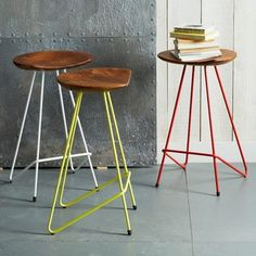 These Perch counter stools are a great mix of metal wood and color