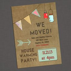 Housewarming Party Invitation on vintage linen background with Mason jars and banner - Hard Copy or Printable Housewarming Invitation Templates, Housewarming Party Invitations, Invitation Cards, Party Treats, Diy Party Decorations, House Party, Holiday Parties, Party Planning, House Warming