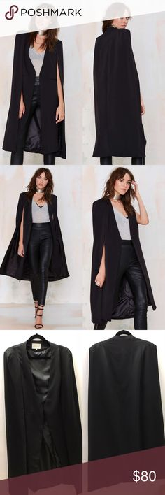 Lavish Alice On the Fly Cape Jacket You're about to look so fly. The On the Fly Cape Jacket is a structured black beauty with a cape overlay, faux pockets at waist, light padding at shoulders, and full lining. Wear it over a slip dress with mules and minimal, metallic jewelry. By Lavish Alice.  *Polyester/Spandex  *Runs true to size  *Model is wearing size x-small  *Hand Wash Only  *Imported Lavish Alice Jackets & Coats