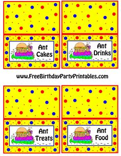 Ant Picnic Burger Food Place Cards by Free Birthday Party Printables Ant Cakes, Ant Drinks, Ant Treats, Ant Food.png (2550×3300)