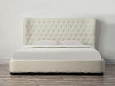 Philly King Beige Linen Bed , EMFURN - 6