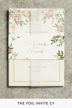 Foil Wedding Invitations – Choose Your Own Flowers Foil Wedding Invitations, Personalised Wedding Invitations, Wedding Invitation Design, Stationery Set, Wedding Stationery, Wedding Flowers, Wedding Day, Countryside Wedding, Flower Invitation