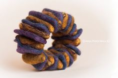 Mustard felt bracelet Purple Felted by DianaNagorna on Etsy