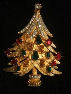 RARE Christmas Tree Pin Brooch Signed Eisenberg Ice   eBay