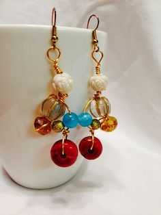 handmade beaded earrings/ cream, turquoise, amber, and rust wire wrapped dangle earrings on Etsy, $12.95