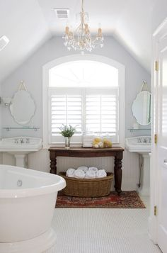 anderson + grant: Baskets of Towels in the Bathroom