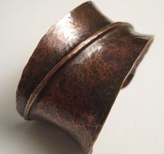 Solid Copper Fold Formed Anticlastic Cuff from greyfeathercreations on Ruby Lane