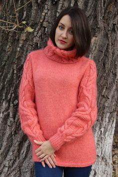 Купить Свитер КОРАЛЛ - однотонный, мода 2015, свитер, свитер вязаный, свитер спицами