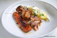 Miel la cuptor marinat cu mustar si legume (1) Tandoori Chicken, Carne, Pork, Ethnic Recipes, Honey, Red Peppers, Kale Stir Fry, Pork Chops