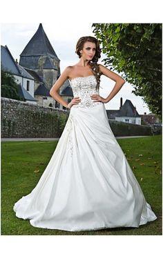 A-line Strapless Court Train Satin Wedding Dress
