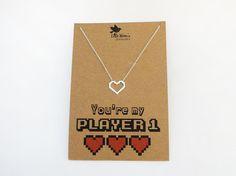 Pixel Heart Necklace  Valentines Day Gift Geek by LittleWrenUK