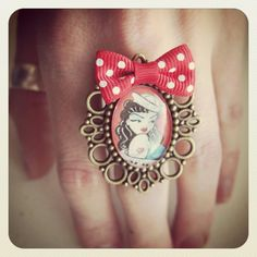 Old School Pin Up Style Sailor Girl ring red by MissCats on Etsy, €12.00