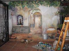 Pintura en una terraza dónde se rescata la creación de espacios que nos invitan a habitar la  profundidad inexistente de la escena