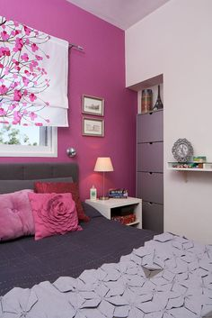 my bedroom, Fuscia with small silver spots