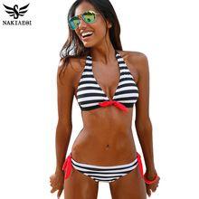 NAKIAEOI 2016 Sexy Mulheres Bikinis Swimsuit Swimwear Halter Top Xadrez Brazillian Bikini Set Maiô Summer Beach Wear Biquini alishoppbrasil