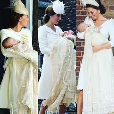 Baptism of all three babies: Catherine and Prince George Catherine and Princess Charlotte Catherine and Prince Louis Prince George Alexander Louis, Prince William And Kate, William Kate, Duchess Kate, Duke And Duchess, Duchess Of Cambridge, Princess Kate, Princess Charlotte, The Iron Lady