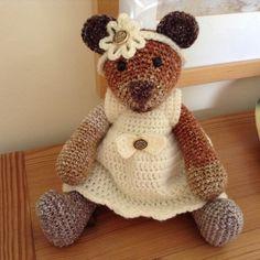 Crochet Bear, Crocheted Bear in a Dress, Crocheted Artists Bear,  Handmade Girl Bear, Crocheted Girl Bear, Collectors Bear by BlueShedCrafts on Etsy