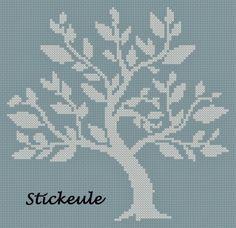 Stickeule: Tree Cross Tree, Cross Stitch Tree, Cross Stitch Flowers, Knitting Charts, Knitting Stitches, Cross Stitches, Fair Isle Chart, Tapestry Crochet, Le Point