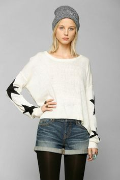 Staring At Stars Star-Sleeve Sweater #urbanoutfitters