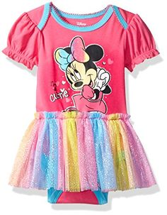Disney Baby Girls Minnie Mouse Tulle Bodysuit Set Pink 69M ** Want additional info? Click on the image.