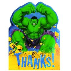 The Incredible Hulk Die-Cut Thank You Notes for After Inv…