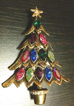 Vtg Weiss Signed Christmas Tree Pin/Brooch Multi Color AB Navette Rhinestone EUC #Weiss