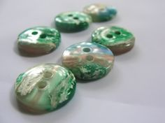 Iridescent Green Round Buttons  by texaseagle for $3.40