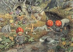 Tomtebobarnen    Mushroom Children Play in Creek  Artist: Elsa Beskow  From the book Children of the Forest