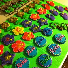 Luau Tropical Beach Party Sugar cookies!!