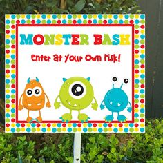 Monster Door Sign, Monster Party, Monster Party Supplies, Birthday Door Signs, Monster Bash, Printable PDF, Instant Download