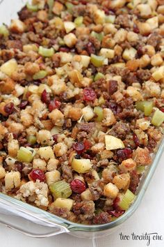 Sausage, Cranberry, and Apple Dressing dressing with sausage cranberry apple Stuffing Recipes For Thanksgiving, Thanksgiving 2020, Stuffing Recipe With Apples, Sausage Apple Cranberry Stuffing Recipe, Thanksgiving Dressing, Turkey Stuffing, Thanksgiving Appetizers, Fall Recipes, Holiday Recipes