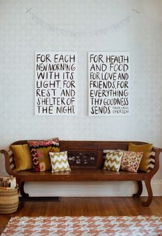stenciled wall, pillows, emerson quote