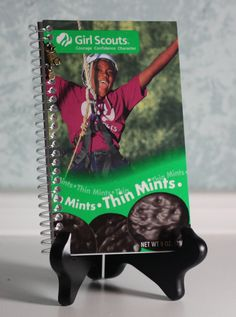 Cute idea for a girl scout's journal.  Keep your cookie boxes girls, I can make these!