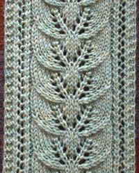 "Knitting a Scarf:  ""Brooke's Column of Leaves Knitted Scarf Pattern""  http://brookenelson.com/leafscarfpattern.html  Instructions and other examples. Love the sage color showing the pattern."